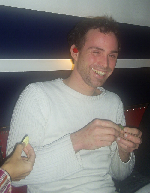 Frank with a cherry in his ear