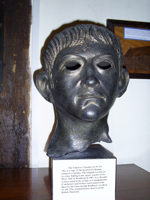 Copy of bust of the Emperor Claudius thrown into the river Alde by Queen Boudicca