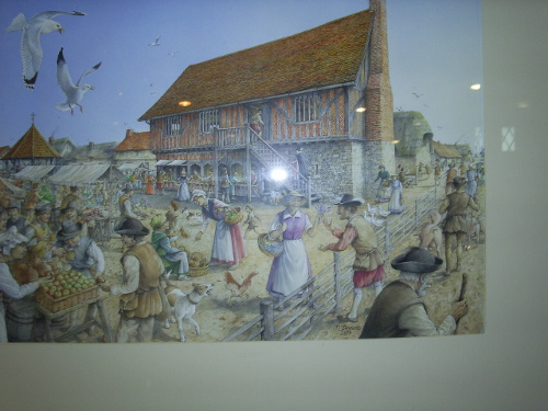 Aldeburgh - painting of the Moot Hall in Medieval times