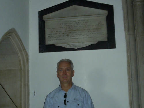 Aldeburgh - Nigel in front of Frederic Bell's memorial tablet
