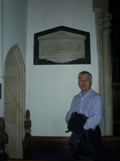 Aldeburgh - Smee in front of Frederic Bell's memorial tablet