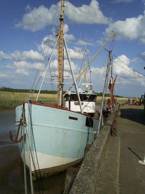 Snape - boats moored at the Maltings