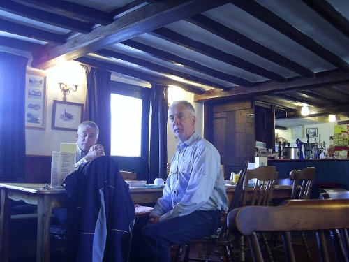 Nigel and Simon in the restaurant of the Ship Inn at Blaxhall, Suffolk