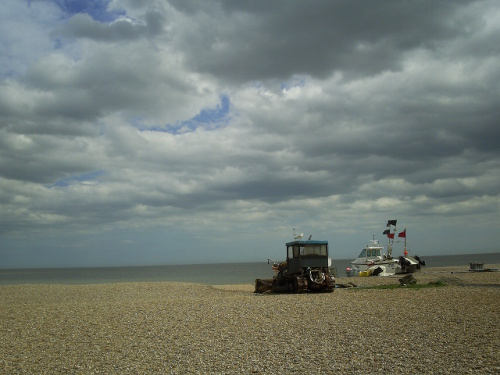 Boat towing tractor on Aldeburgh beach