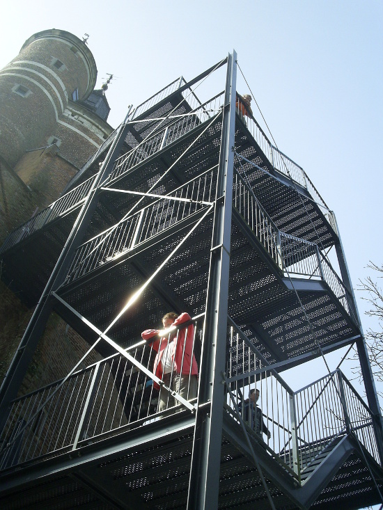 Steel stairs clamped to castle