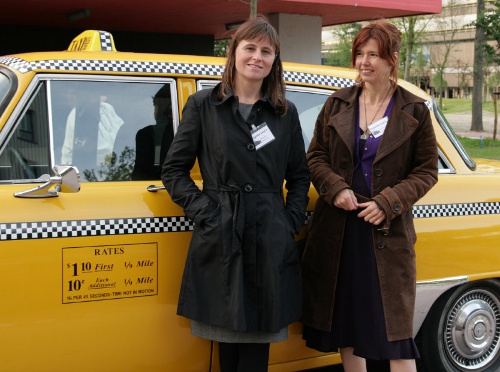 Babette, Mirjan and a yellow cab
